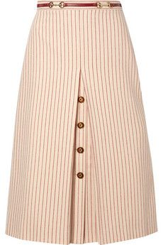 Indian style 104005072644497335 - Gucci – Leather-trimmed Paneled Pinstriped Wool Midi Skirt – Ivory Source by netaporter Cotton Maxi Skirts, Pleated Skirt, Midi Skirt, Dress Skirt, Modest Fashion, Fashion Dresses, Unique Fashion, Women's Fashion, Skirt Outfits