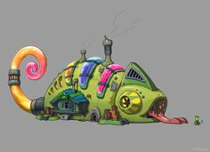 alchemy / color / cooling / heat A chameleon has a complex about no protective color. so he's studying hard to overcome!