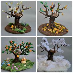 Needle felted Waldorf Seasonal tree Spring Winter door darialvovsky