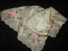 Embroidered Victorian silk handkerchief. Ladies carried lots of these and used the nicest on their faces, and plainer versions for chamberpot cloths. A monogram could have been worked into the embroidery.