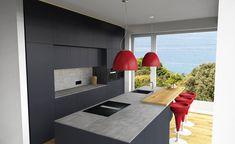 Moderne Küche mit Bar Kitchen Contemporary, Timber Wood