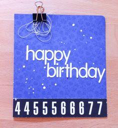 A blue happy birthdaycard with Heidi Swapps ColorShine Spray!