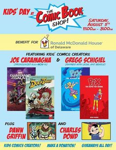 Saturday Aug 5th I'll be exhibiting at the @RMHDelaware kids day benefit at @ComicBookShopDE! Local Kids #Comics & artists galore!