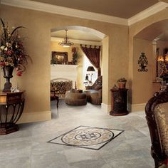 Check out this Daltile product: Pietre Vecchie - Inspiring Ideas through Real Use. Photo features Pietre Vecchie in Champagne 20 x 20 with Florentine Medallion. Entry Tile, Stone Tile Flooring, Large Format Tile, Entry Way Design, House Design Photos, Flooring Options, Flooring Ideas, Outdoor Flooring, Floor Design