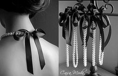 Pearl Necklace Bridesmais Gifts White Swarovski Crystal Pearls With Black Satin Ribbon 18 Inches