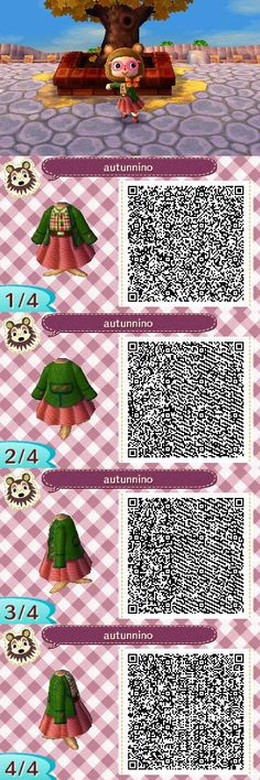 Autumn coloured outfit. qr codes