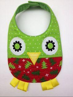 Holiday Owl Baby Bib by subtlesimplicity on Etsy, $14.00