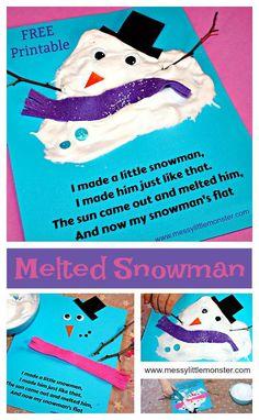 Maak dikke sneeuwverf met scheerschuim en witte (kinder)schoollijm. Super leuk om zo een gesmolten sneeuwpop te maken! Heel veel plezier! Groeten Team Tip van de juf!   http://www.messylittlemonster.com/2017/01/puffy-paint-melted-snowman-kids-craft.html?m=1