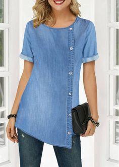 Cute Tunic Tops For Women Asymmetric Hem Round Neck Button Detail Denim Blouse Stylish Tops For Girls, Trendy Tops For Women, Clothes For Women Over 50, Ladies Clothes, Women's Clothes, Denim Blouse, Grey Blouse, Trendy Fashion, Womens Fashion