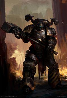 A Chaos Space Marine of the Iron Warriors Legion, storming through Imperial defenses. Warhammer Fantasy, Warhammer 40k Codex, Warhammer Art, Space Marine, Chaos Daemons, Geek Art, Fantasy Artwork, Looks Cool, Dark Fantasy