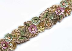 hand beaded trim with lavender, spring green and gold flowers