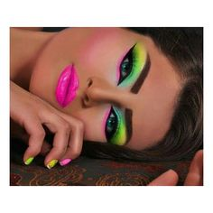 Neon makeup ❤ liked on Polyvore featuring beauty products and makeup