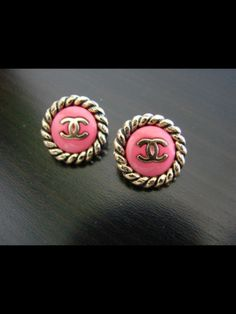 chanel pink gold earrings