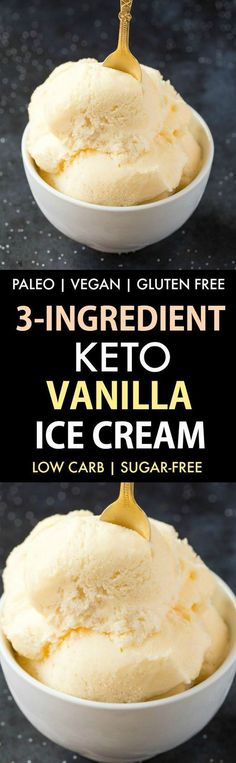 3-Ingredient Keto Vanilla Ice Cream (No Churn, Paleo, Vegan, Gluten Free)- Smooth, creamy and fool-proof vanilla ice cream- Blender made and ready in minutes! {v, gf, p recipe}- #keto #ketodessert #proteinicecream #ketoicecream | Recipe on thebigmansworld.com