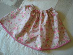 jupe ample pour fillette rose fleurie : Mode filles par nany-made