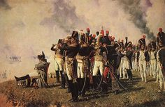 Napoleon, looking typically moody slumped in a chair assessing the battlefield at Borodino with his staff.