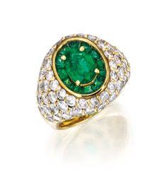 18 Karat Gold, Emerald and Diamond Ring, Boucheron