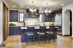 Creative Kitchen Cabinet Ideas in Dark Color Reflect Elegant Taste: Stunning Kitchen Cabinet Ideas Brick Kitchen Backsplash Twin Chandelier ~ bofou.net Kitchen Designs Inspiration