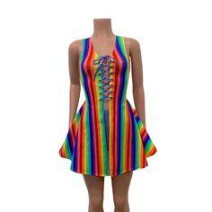 NEW WOMEN RAINBOW SKATER DRESS SLEEVELESS GAY PRIDE PARTY FLARED FANCY DRESS