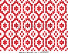 Slavic seamless pattern ornament cross stitch. Pattern with hearts. Winter knitted pattern