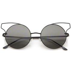 Women's Full Metal Open Design Frame Round Cat Eye Sunglasses 55mm  #sunglasses #sunglass #frame #bold #clear #sunglassla #purple #womens #mirrored #summer