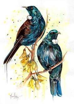 This was a custom kiwiana themed piece I did up of 2 lovely Tui birds around some bright yellow Kowhai flowers. Tui Bird, Maori Patterns, Maori Art, Kiwiana, Cafe Menu, Mosaic Ideas, Bird Art, Watercolour Painting, Asian Art