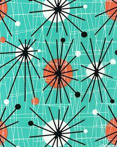 Retro barkcloth - atomic starbursts, sputnik splashes - (mid century modern interior decor)