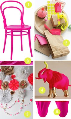 neon and neutral party decor