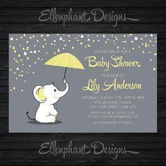 Yellow elephant Baby Shower Invitation umbrella rain by ellenphant