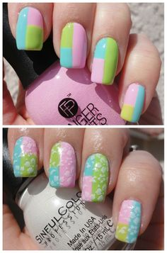 color blocking with stamping  @FingerPaints Nail Color