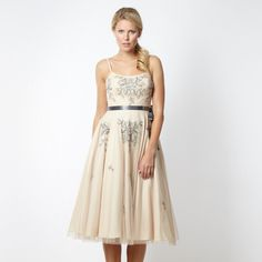 b76d69c26fe1a 1 Jenny Packham Designer light gold floral embellished prom dress- at  Debenhams.