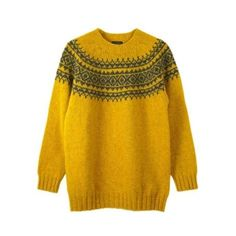 Fairisle Jumper Mustard Grey featuring polyvore women's fashion clothing tops sweaters fairisle jumper oversize sweater grey sweater gray sweater lambswool sweater