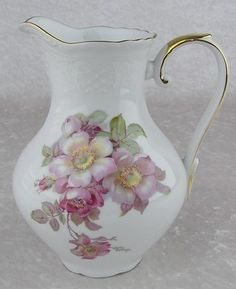 Vintage Schumann Bavaria Wild Rose Scalloped Coupe 32 oz Water Serving Pitcher