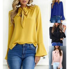 TWIFER Women Casual Dot Print Long Sleeve V-Neck Loose Fit Shirt Pocket Blouse Casual Comfy Soft Solid Floral Slouchy Tops Tunic