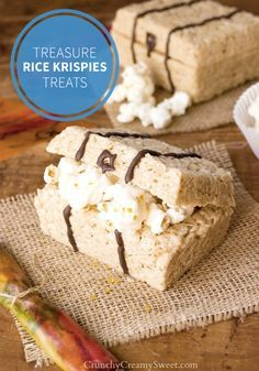Who knows what goodies you'll find in these Treasure Rice Krispies Treats®! Hint, it's chocolate and popcorn. This salty sweet flavor combination is sure to be a hit at your kid's birthday party!