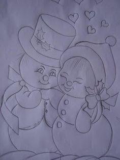 T T happy Snowman couple Christmas Colors, Christmas Art, Christmas Decorations, Painting Templates, Painting Patterns, Christmas Drawing, Christmas Paintings, Art Drawings Sketches Simple, Easy Drawings