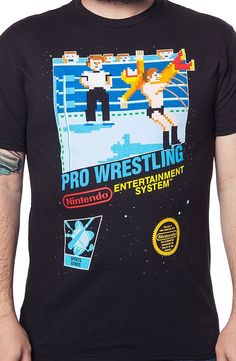 Nintendo Pro Wrestling T-Shirt Sport geeks--Wrestling is a sport and also a video game.  Gaming history featuring the art and illustrations of its day!