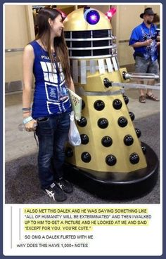 Doctor Who Flirty Dalek Doctor Who, Dr Who, Don't Blink, Dalek, Torchwood, Superwholock, True Love, Cookies Et Biscuits, Funny Memes
