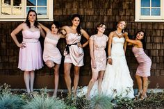 "Love that this real life bride did a ""Bridesmaids"" photo. Brilliant.  One Happily Ever After a Decade in the Making 