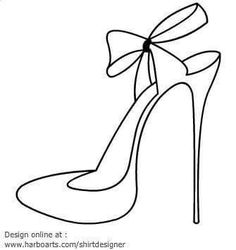 High Heel Printables High heel blade shoes outline with ribbon … - Woman Shoes Colouring Pages, Coloring Books, Blade Shoes, Shoe Template, White High Heels, Shoe Art, Designer Heels, Applique Patterns, String Art