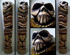 Amazing artist a skull tiki pole Wood Carving Patterns, Wood Carving Art, Wood Carvings, Tiki Maske, Tiki Pole, Tiki Art, Tiki Tiki, Easter Island Statues, Tiki Faces