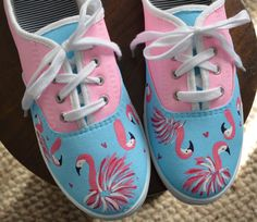 Lilly Pulitzer inspired hand painted flamingo canvas shoes