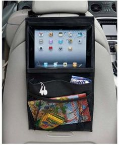 Backseat Headrest Hanging Organizer with Tablet / iPad and Headphone S   Brats On Board
