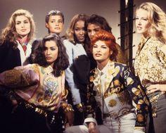 "80s-90s-supermodels: ""Versace, early 90s Models: Cindy Crawford, Nadege du Bospertus, Naomi Campbell, Helena Christensen, Karen Mulder, Yasmeen Ghauri and Linda Evangelista """
