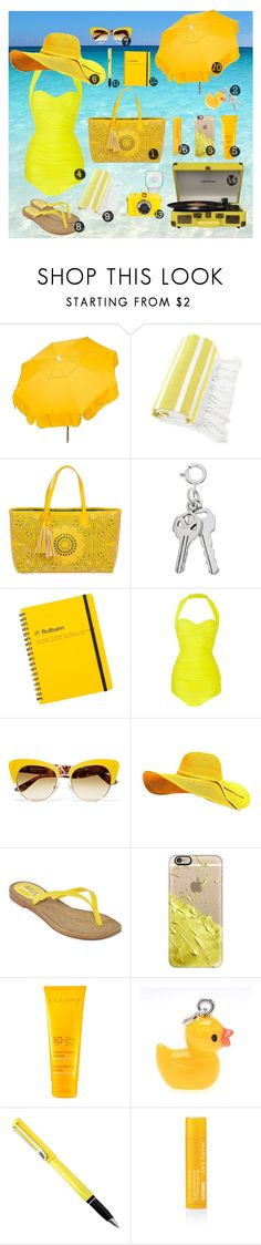 """""""Yellow Beach Bag"""" by polyvoretime ❤ liked on Polyvore featuring Parasol, Linum Home Textiles, BUCO, J.Crew, Norma Kamali, Dolce&Gabbana, MIA, Casetify, Clarins and Mary Kay"""