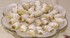 Nut Roll Cookies - These look very close to what my grandmother used to make. Cookie Desserts, Just Desserts, Cookie Recipes, Slovak Recipes, Hungarian Recipes, Filled Cookies, Roll Cookies, Hungarian Nut Roll Recipe, Kiffles Recipe
