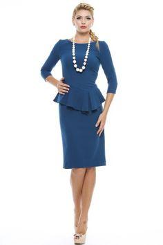 Rochie crepe cu basc asimetric, linie conica si maneci 3/4. Peplum Dress, Dresses, Fashion, Simple Lines, Vestidos, Moda, Fashion Styles, Dress, Fashion Illustrations