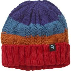 Cold Front Boy's Striped Cuff Beanie, Red