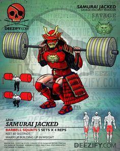 leg exercise: barbell squats samurai jacked