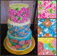 Lilly Pulitzer Print Wedding Cake? HOW PRECIOUS. Maybe for a shower or something, not the actual big day.